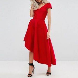 ASOS Petite Asymmetric Stripe Evening Prom Dress
